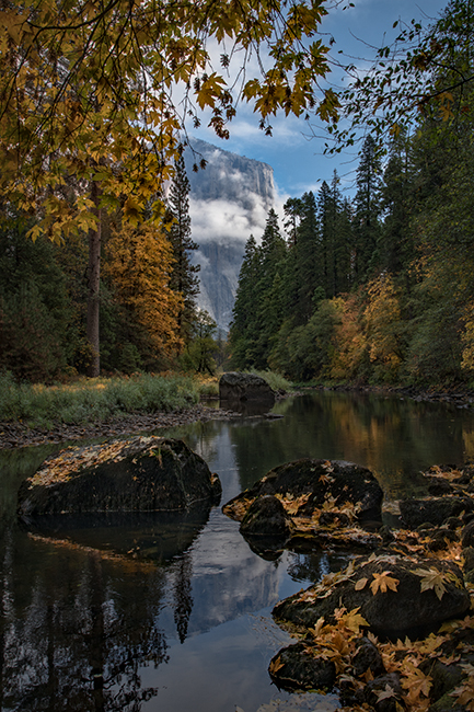 Yosemite, Sierra, mountains, yosemite valley, fall, merced river, merced, water, maples, fall color, fall, reflection, el capitan, clouds, photo