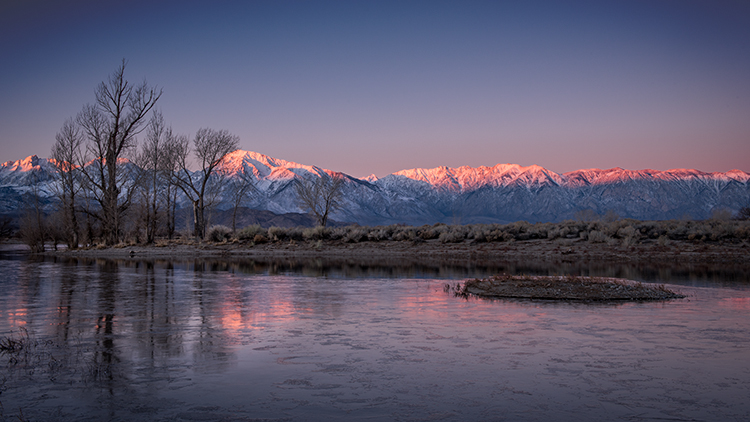eastern sierra, mountains, clouds, sunset, bishop, ca, california, mountain light, winter, sierra, lenticular,  owens river valley, owens, river, ice, reflection, photo