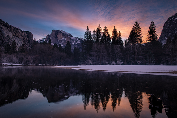 yosemite, national park, ca, california, mountains, sierra, water, half dome, valley, sunrise, winter,  colors flora, trees, merced, river,, photo