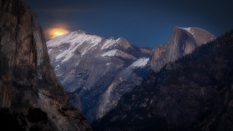 yosemite, national park, ca, california, mountains, sierra, water, half dome, valley, sunset, moonrise, moonlight, moon, fall...