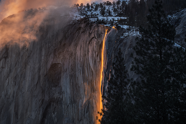 Yosemite, California, Ca, Sierra, valley, Yosemite national park,  el capitan, trees, sunset, horsetail, falls, water, clouds, photo