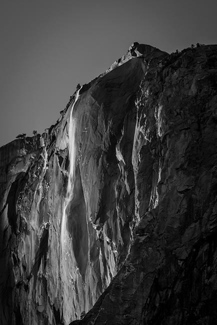 yosemite, sierra, horsetail falls, mountains, sunset, water, california, ca, winter, national park, black white, photo