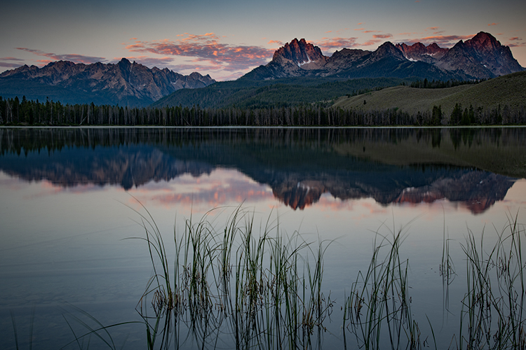 Id, idaho, sawtooth, mountains, water, lakes, sunrise, stanley, salmon river, little redfish, redfish lake, photo