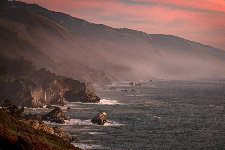 California, CA, water, beach, beaches, coast, coastline, rocks, sunrise, big sur, pfeifer, state, park, atmospherics, clouds, light, winter, waves, mc way, mcway, falls, central, clouds, predawn, dawn, photo