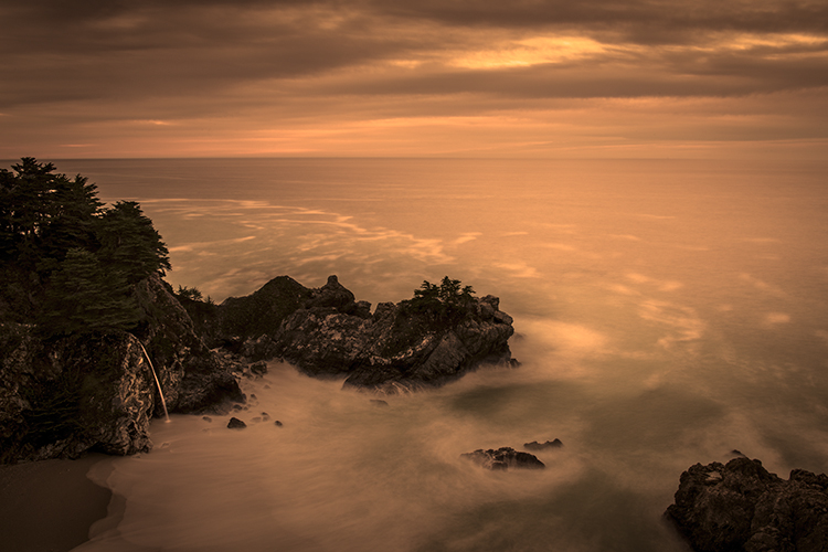 sunset, pacific, ocean, surf, waterfalls, water, coast, clouds, sea, seascape, big sur, julia pfeiffer burns, ca, photo