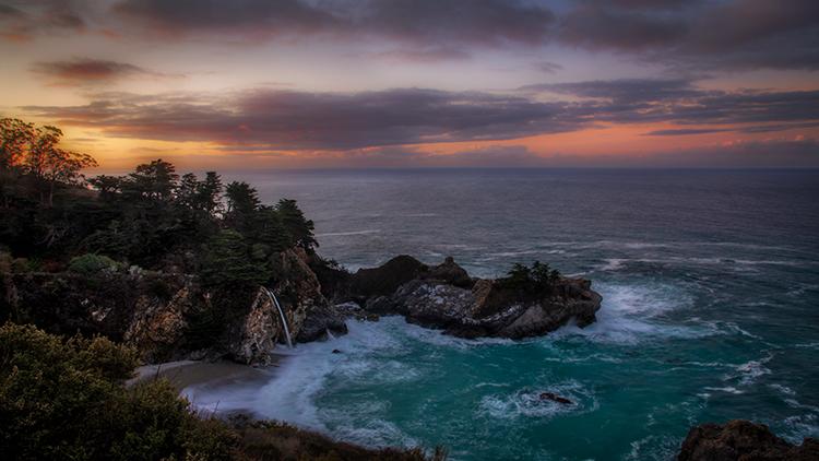 California, CA, water, beach, beaches, coast, coastline, rocks, sunrise, big sur, pfeifer, state, park, atmospherics, clouds...