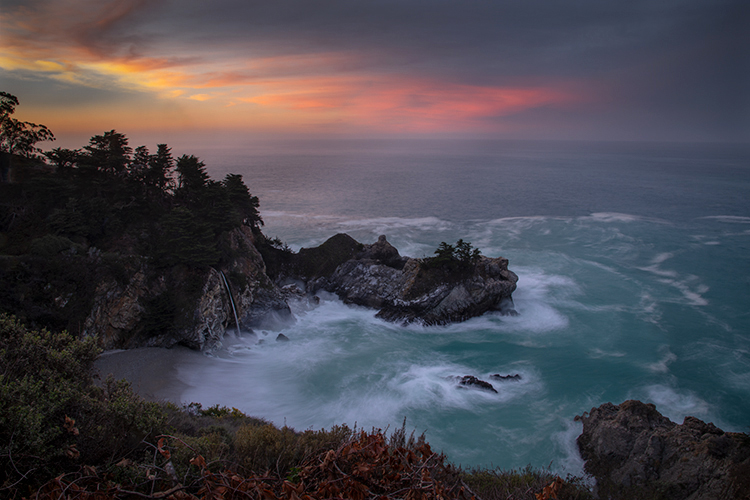 California, Big Sur, mcway falls, coast, waves, central coast, julia pfeiffer, pacific, ocean, west coast, sunrise, sunset, waterfall...