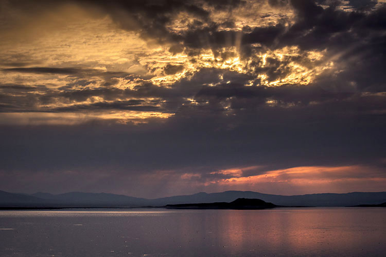 mono lake, negit island, sunrise, water, sierra, mountains, california, ca, eastern sierra, storm, clouds, photo