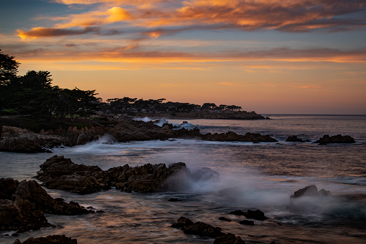 monterey, bay, ca, california, sunrise, water, ocean, pacific, flora, aloes, aloe, cypress, sunrise, surf, rocks, coastline, coast, sea stacks, alpine glow, photo