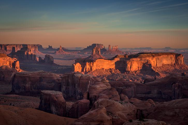 monument valley, southwest, sunrise, AZ, UT, arizona, utah, indian land, mountains, desert, hunts mesa, photo