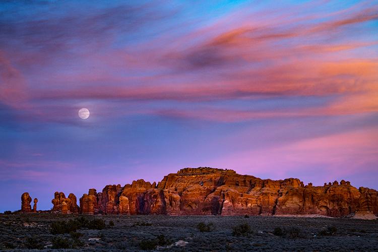 utah, ut, arches national park, sunset, canyons, southwest, colorado plateau,  atmospherics, red rock, moab, sandstone, moon, moonrise, rise, photo