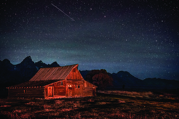 mountains, Wyoming, wy, Tetons, Grand Teton Park, landscape, Fall, trees, aspens, fall color, jackson, moulton barn, stars, night, big dipper, photo