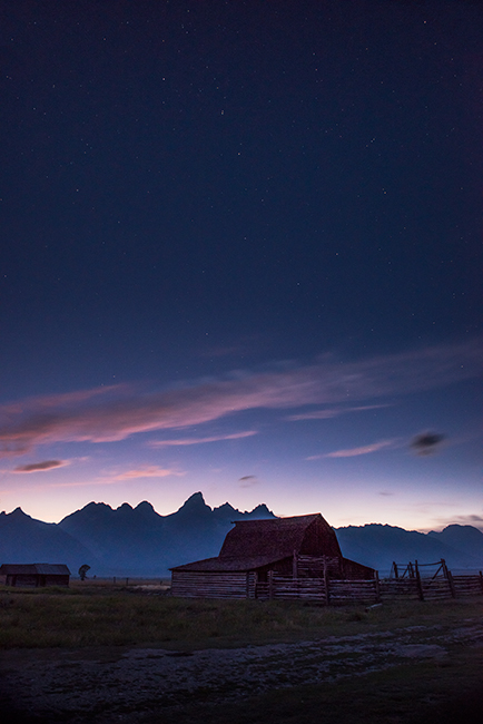 mountains, Wyoming, wy, Tetons, Grand Teton Park, landscape, Fall, trees, aspens, jackson, moulton barn, stars, night, big dipper, cabin, mormon, photo