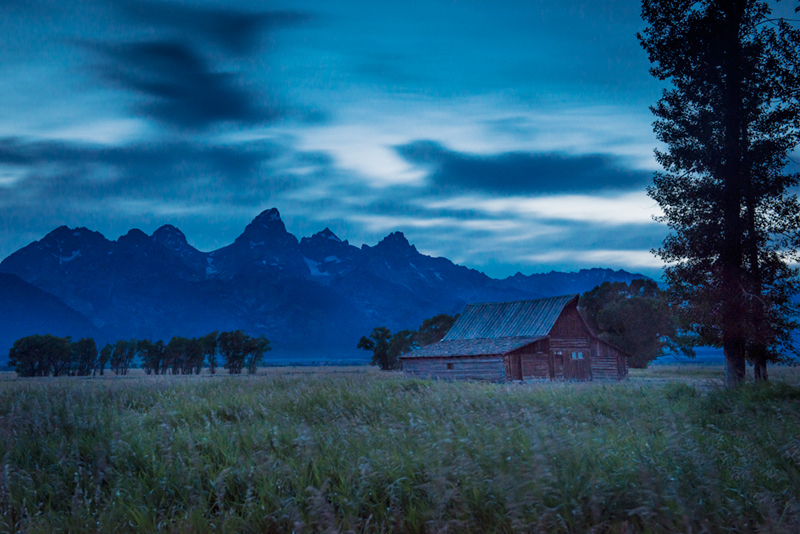 mountains, landscape, tetons, grand teton national park, snake river, sunset, snake, river, water, trees, moulton, barn, twilight, photo