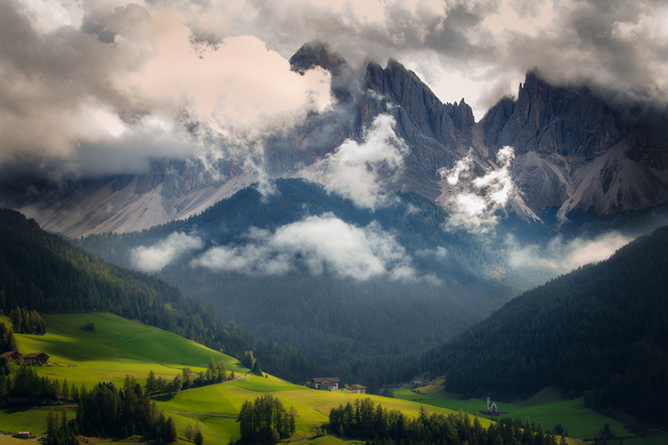 italy, europe, dolomites, dolomite, mountains, chapel, san giovanni, santa magdalena, val de funes, val de funis, sunrise, valleys, alps, alpine, fall, trees, flora, cows, village, clouds, photo