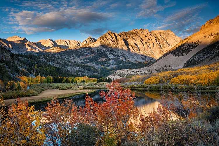 eastern sierra, sierra, aspens,  bishop creek, South fork, fall, ca, california, trees, water, mountains, fall colors, bishop, photo