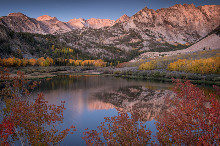Sierra, fall. color, fall colors, mountains, trees, landscape, Bishop, aspens, california, north lake, reflections, sunrise, photo