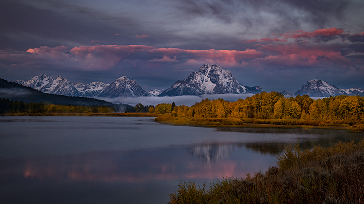 grand teton national park, tetons, snake river, snake, river, mountains, trees, water, color, aspens, clouds, fog, dawn, atmospherics, photo