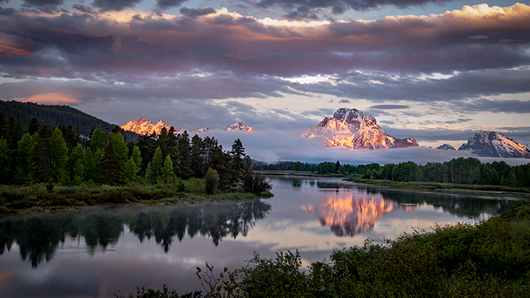 snake river, snake, river, mountains, landscape, tetons, grand tetons, sunrise, clouds, storm, jackson, trees, national park, water, spring, atmospherics, jackson lake, sunrise, moran, photo