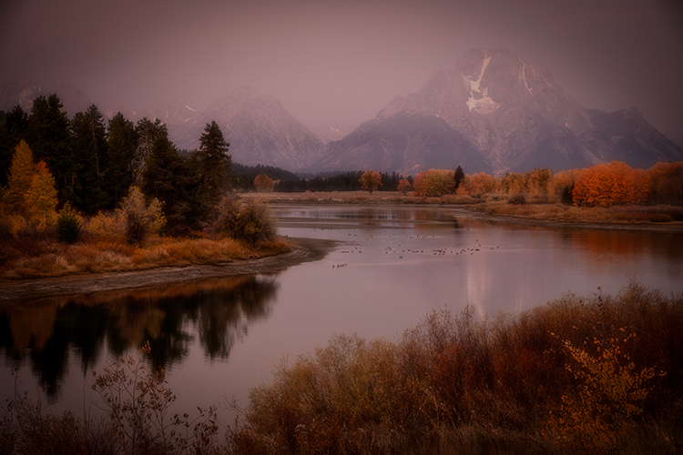 snake river, snake, river, mountains, landscape, tetons, grand tetons, jackson, trees, national park, water, fall, atmospherics, sunrise, flora, firs, aspens, colors, wyoming, oxbow bend, photo