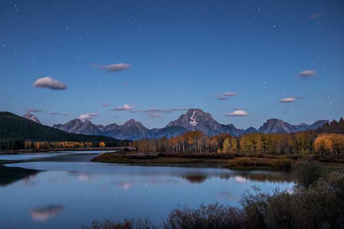 mountains, Wyoming, wy, jackson, Tetons, Grand Teton Park, landscape, Fall, trees, aspens, fall color, snake river, oxbow bend, dawn, sunrise, water, stars, predawn, photo