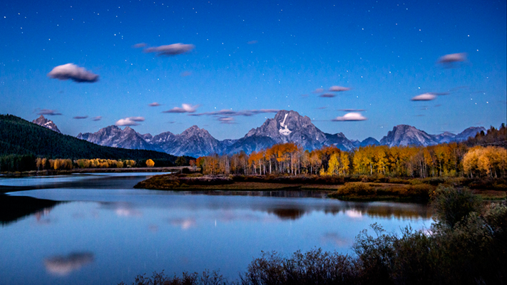 mountains, Wyoming, wy, Tetons, Grand Teton Park, landscape, Fall, trees, aspens, fall color, jackson, moulton barn, stars, night, big dipper, oxbow bend, snake river, snake, stars, pre dawn, dawn, photo
