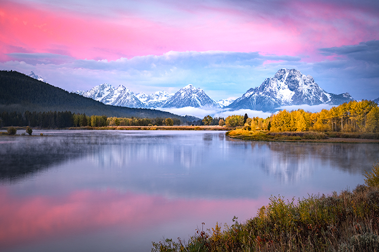 grand teton national park, tetons, snake river, snake, river, mountains, trees, water, color, aspens, sunrise, clouds, flora, predawn, photo