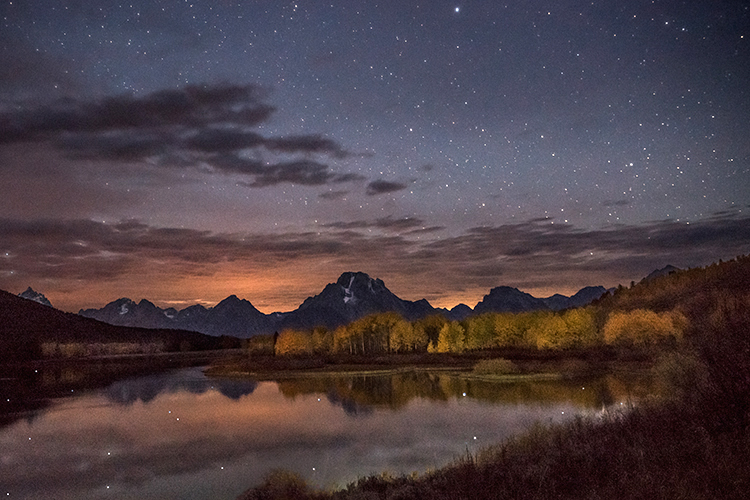 mountains, Wyoming, wy, Tetons, Grand Teton Park, landscape, Fall, trees, aspens, fall color, jackson, oxbow bend, sunrise, snake river, stars, reflections, photo
