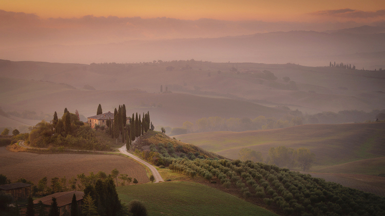 europe, italy, tuscany, pienza, siena, villa, wine, grapes, fields, sunset, clouds, valley, val d'orchia, sunrise, photo