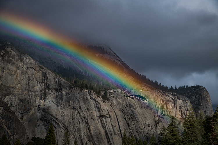 yosemite, valley, mountains, sierra, trees, sunrise, light, ca, california, water, trees, flora, winter, north dome, rainbow, clearing storm, photo