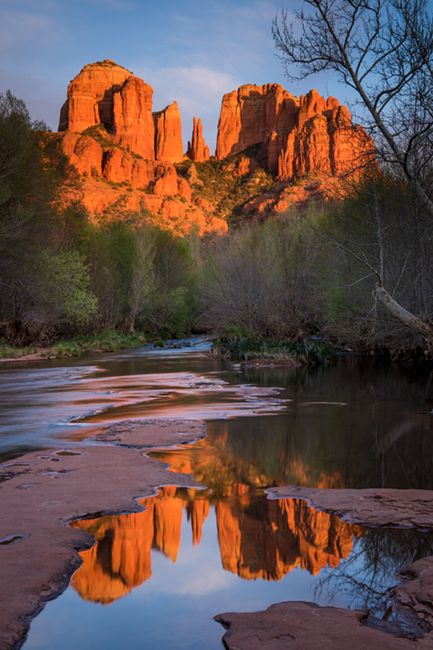 sedona, az,arizona, oak creek, water, sunset, red rock, red rock crossing, cathedral rock, mountains