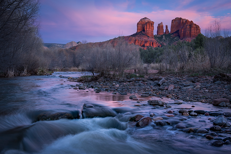 sedona, az, southwest, water, red rock crossing, oak creek, sunset, cathedral rock, red rock, photo