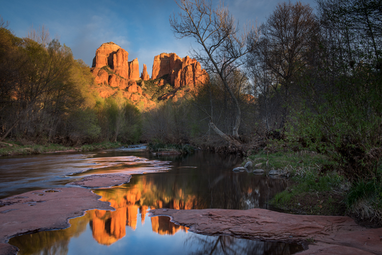 Rock, Red Rock, Red rock crossing, oak creek, water, mountains, southwest, sunset, reflections, photo