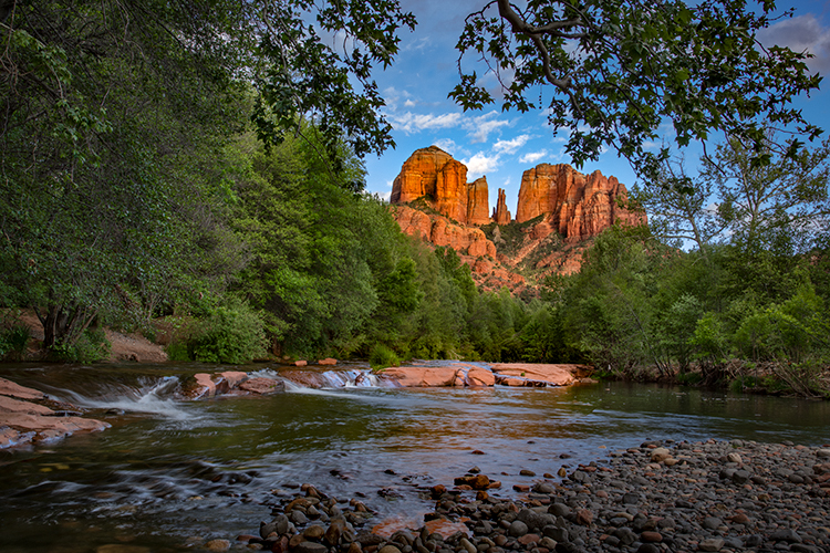az, arizona, colorado plateau, red rock, red rock crossing, oak creek, cathedral rock, sunset, alpenglow, reflections, sedona, spring, sunset, water, falls, photo