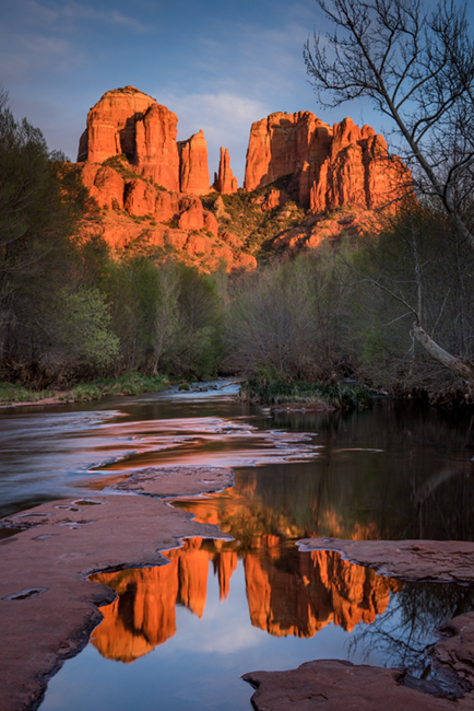 Rock, Red Rock, Red rock crossing, oak creek, water, mountains, southwest, sunset, reflections, photo