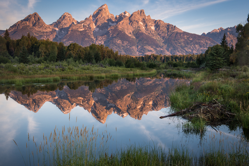 mountains, landscape, tetons, grand teton national park, snake river, snake, river, water, trees, sunrise, Shwabacher Landing, reflections, clouds, photo