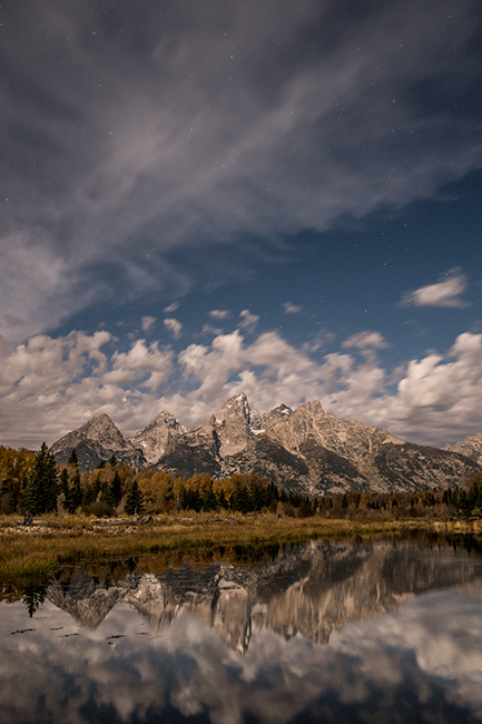 mountains, Wyoming, wy, Tetons, Grand Teton Park, landscape, Fall, trees, aspens, fall color, jackson, schwabaker landing, sunset, snake river, moonlight, stars, photo