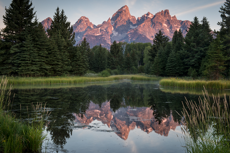 mountains, landscape, tetons, grand teton national park, snake river, snake, river, water, trees, sunrise, reflections, clouds, Shwabacher Landing, photo