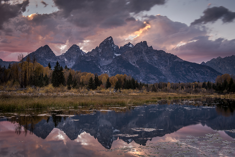 mountains, Wyoming, wy, Tetons, Grand Teton Park, landscape, Fall, trees, aspens, fall color, jackson, schwa baker landing, sunset, snake river, moonlight, stars, photo