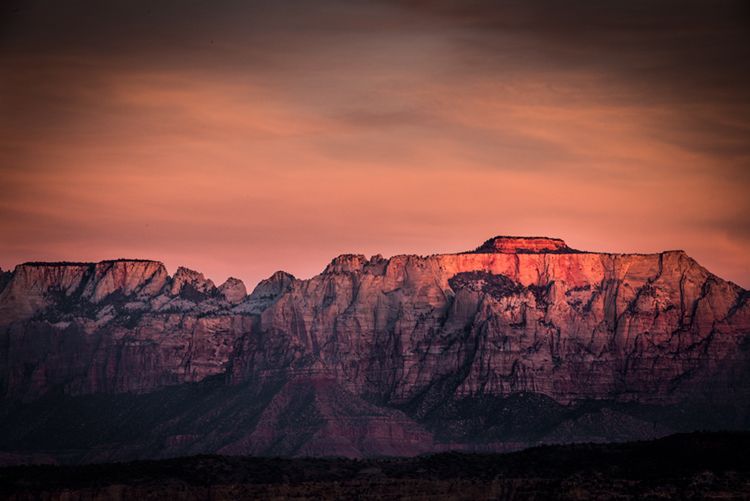 trees, fall, fall color, zion, mountains, utah, ut, southwest, virgin, river, virgin river,  cottonwoods, twilight, sunset, towers of the virgin, towers, smith mesa,, photo
