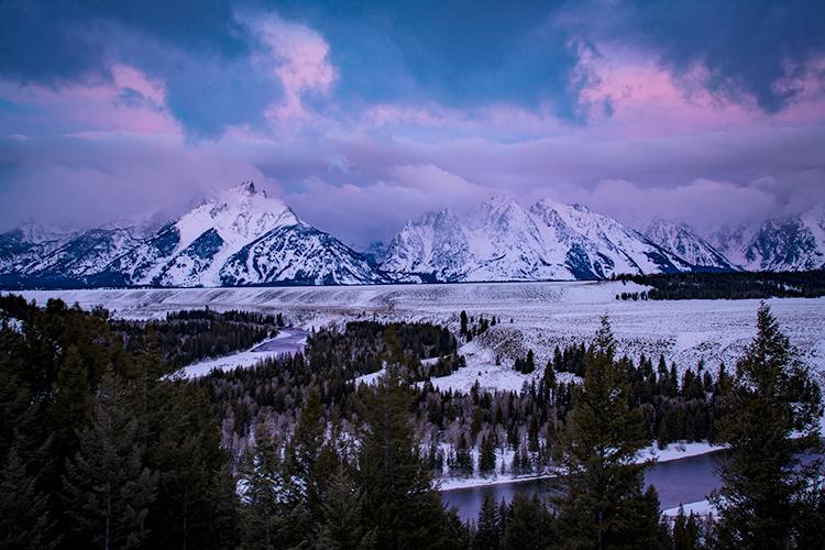 snake river, snake, river, mountains, landscape, tetons, grand tetons, sunrise, clouds, storm, jackson, trees, national park, water, winter, photo