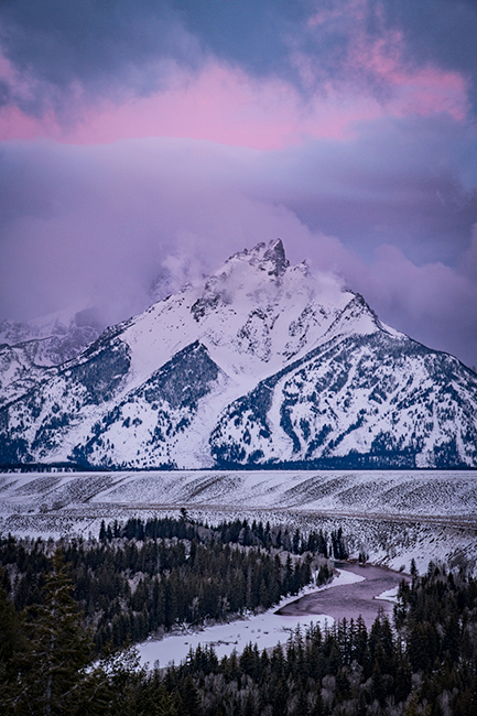 snake river, snake, river, mountains, landscape, tetons, grand tetons, sunrise, clouds, storm, jackson, trees, national park, water, winter, photo