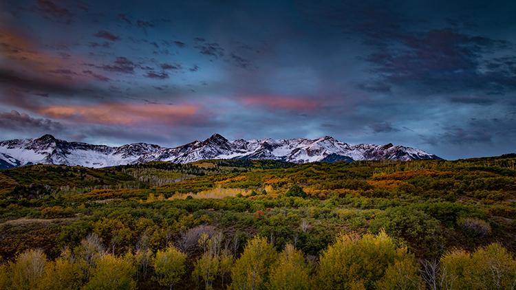 colorado, co, san juan mountains, mountains. trees, aspens, fall, fog, atmospherics, owl creek, ridgway, snow, flora, autumn, rockies, sneffels range, photo
