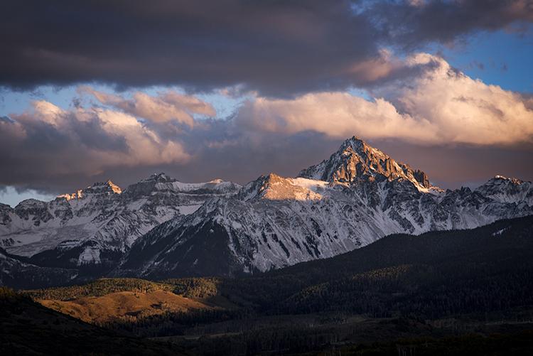 Rocky Mountains, San Juan mountains, rockies, san juans, fall, autumn, color, trees, aspen, pine, fir, colorado, co, sneffels, ridgway, clouds, sunrise, photo