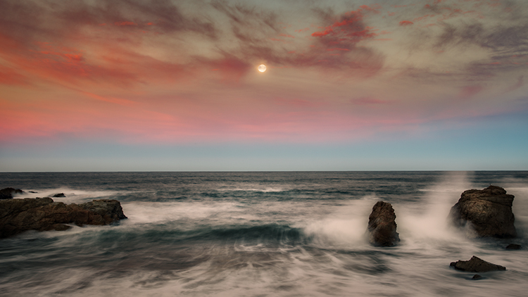 big sur, garrapata, state park, ca, california, pacific, ocean, water, beach, sunrise, sunset, surf, rocks, rock, soberanes, moon, moon set, moonset, photo