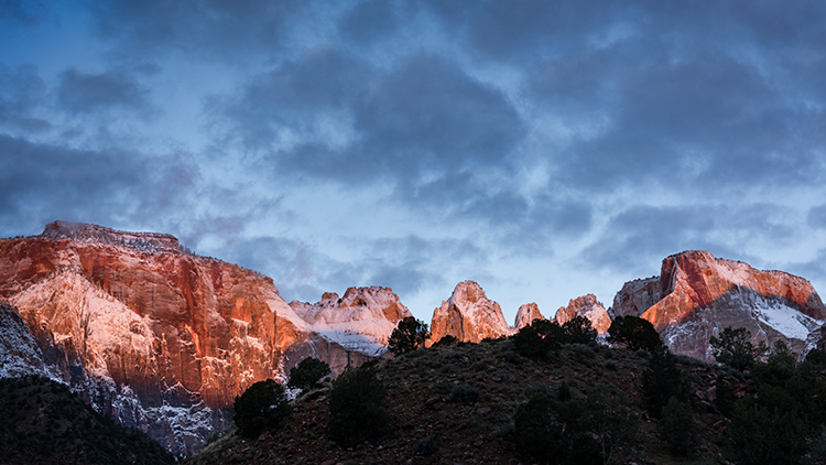 Zion, Zion National Park, ut, utah, red rock, trees, snow, spring, colorado plateau, southwest, mountains, sunrise, clouds, temples, towers, photo