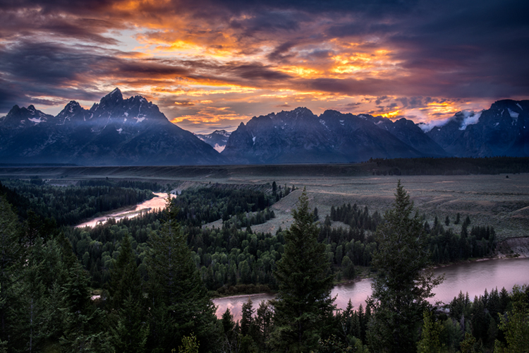 snake river, snake, river, mountains, landscape, tetons, grand tetons, sunset, clouds, storm, jackson, treesnational park, water, photo