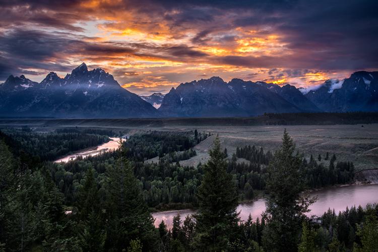snake river, snake, river, mountains, landscape, tetons, grand tetons, sunset, clouds, storm, jackson, trees, national park, water, photo