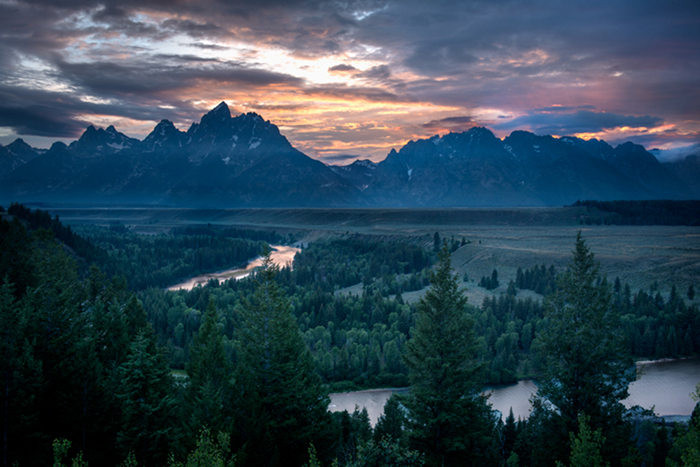 mountains, landscape, tetons, grand teton national park, snake river, sunset, snake, river, water, trees, photo