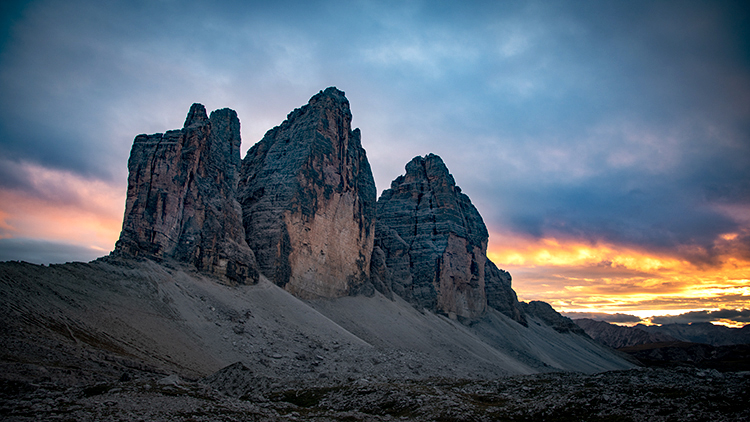 italy, europe, dolomites, dolomite, mountains, chapel, cortina, tre cime,  sunrise, sunset, valleys, alps, alpine, fall, trees, flora, cows, village, clouds, photo